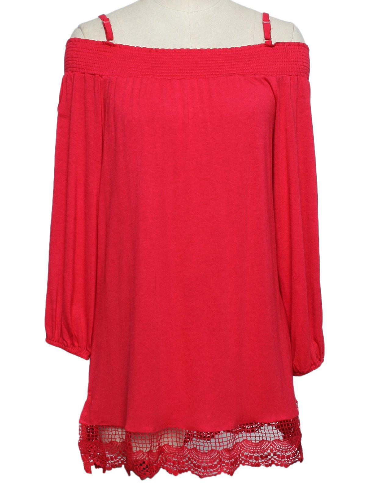 Sweet Lace Spliced Spaghetti Strap 3/4 Sleeve Women's Blouse - RED XL