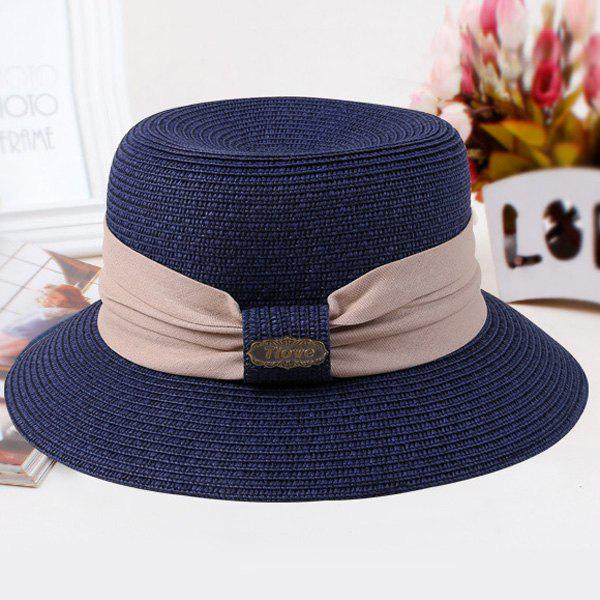Chic Wide Cloth Band Embellished Sun-Resistant Women's Straw Hat - CADETBLUE