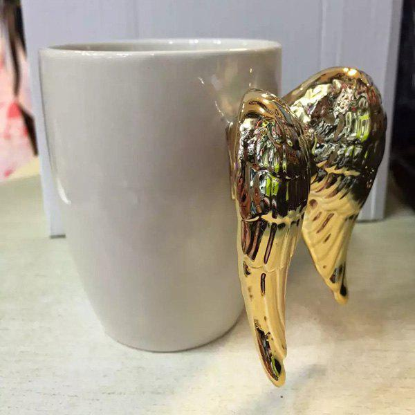 Hot Angel Wings Shape Handle Coffee Cup Ceramic Mug - GOLDEN