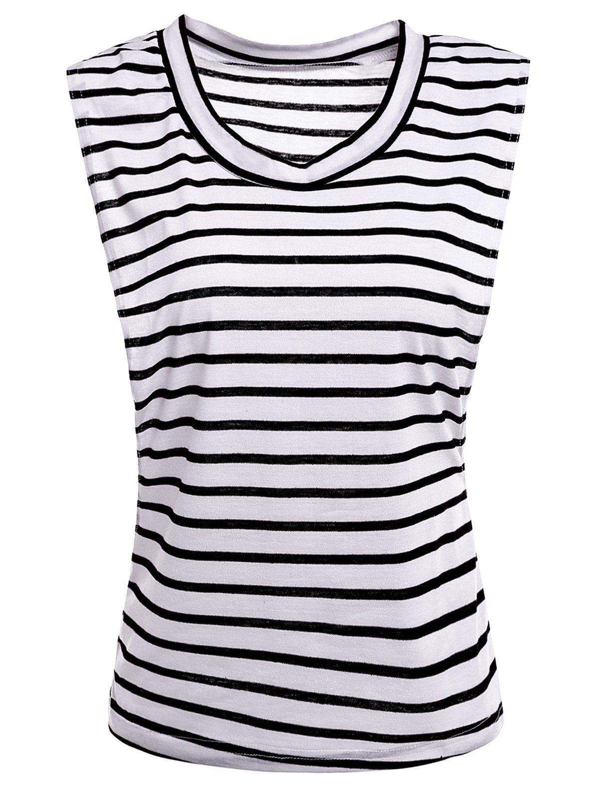 Sexy Sleeveless Scoop Collar Striped Women's T-Shirt - WHITE M