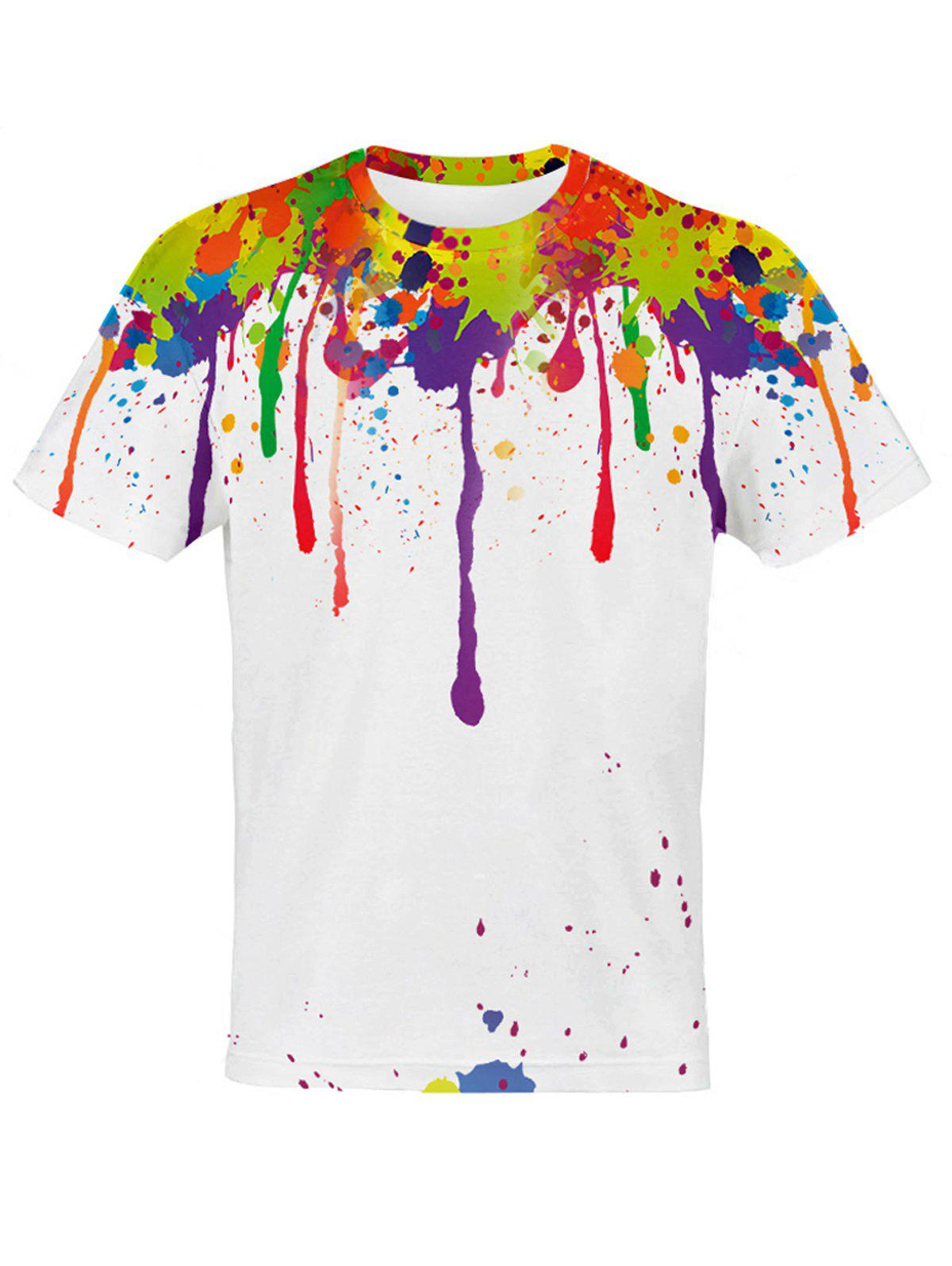 Fashion Men's Round Neck 3D Colorful Splash-Ink Pattern Slimming Short Sleeves T-Shirt