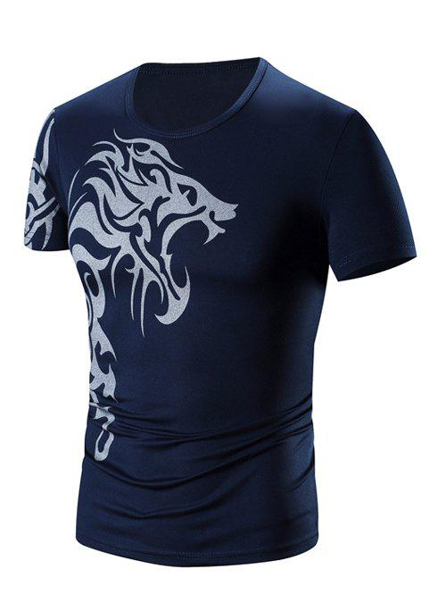Men's Round Neck Printing Short Sleeve T-Shirt - CADETBLUE 3XL