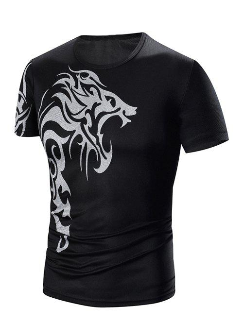 Men's Round Neck Printing Short Sleeve T-Shirt - BLACK 3XL