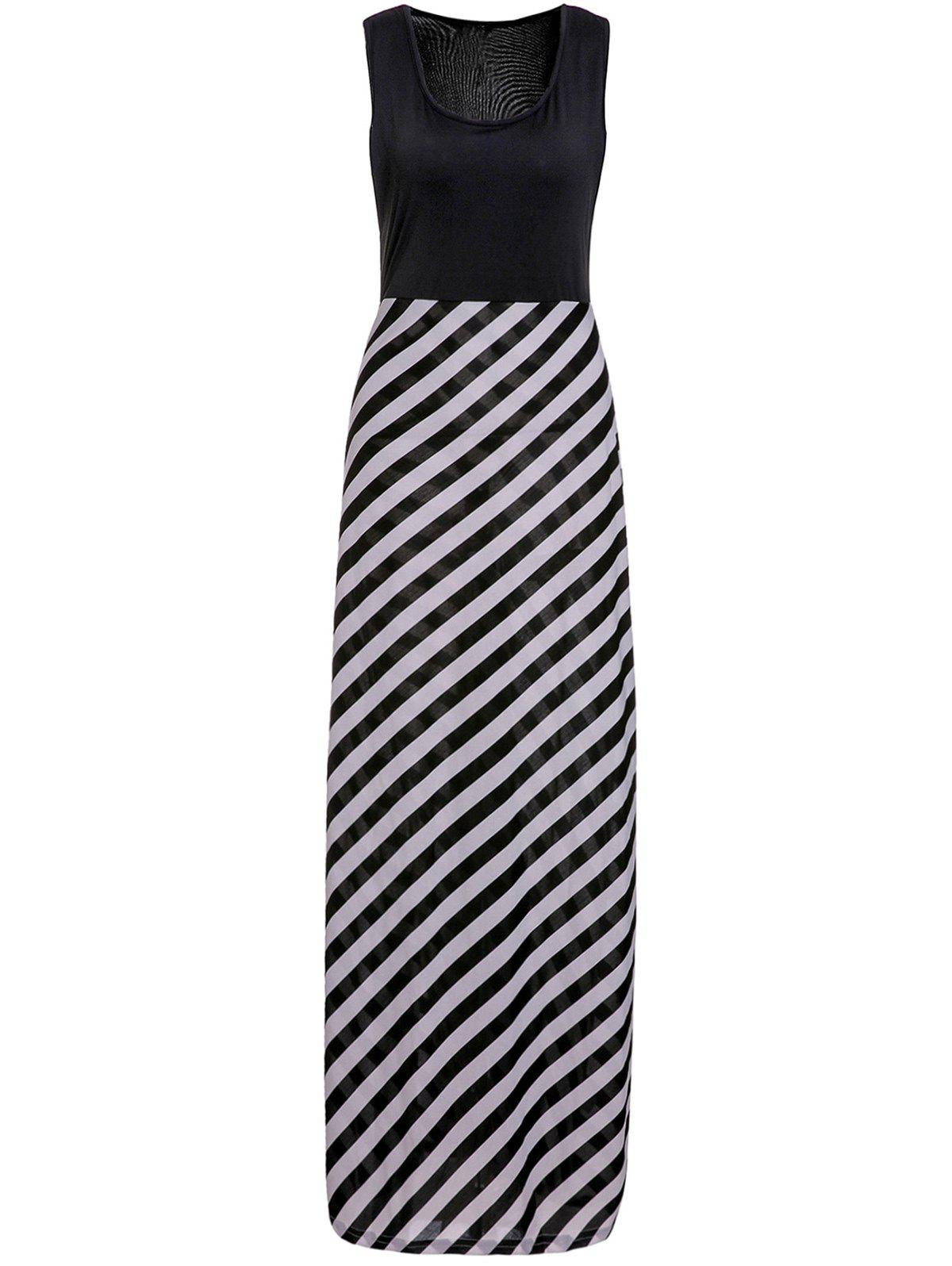 Alluring U-Neck Sleeveless Striped Spliced Women's Maxi Dress - WHITE/BLACK XL