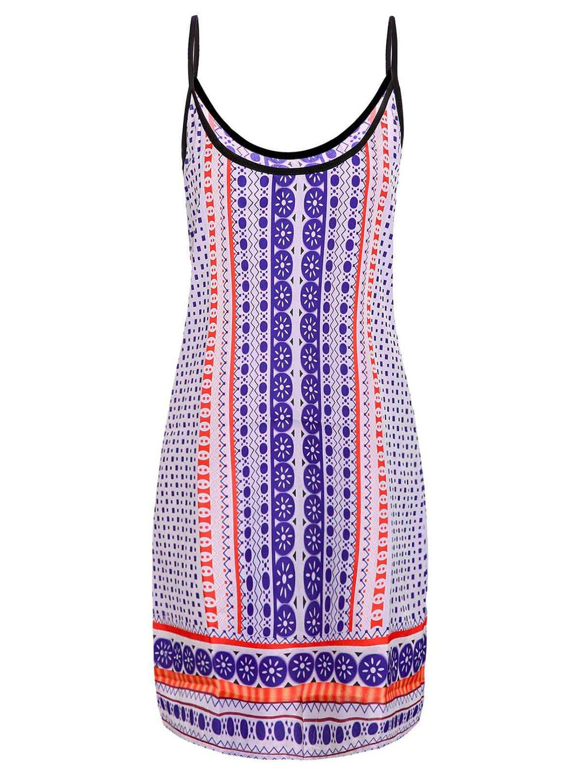Fashionable Spaghetti Strap Printed Women's Dress - COLORMIX XL