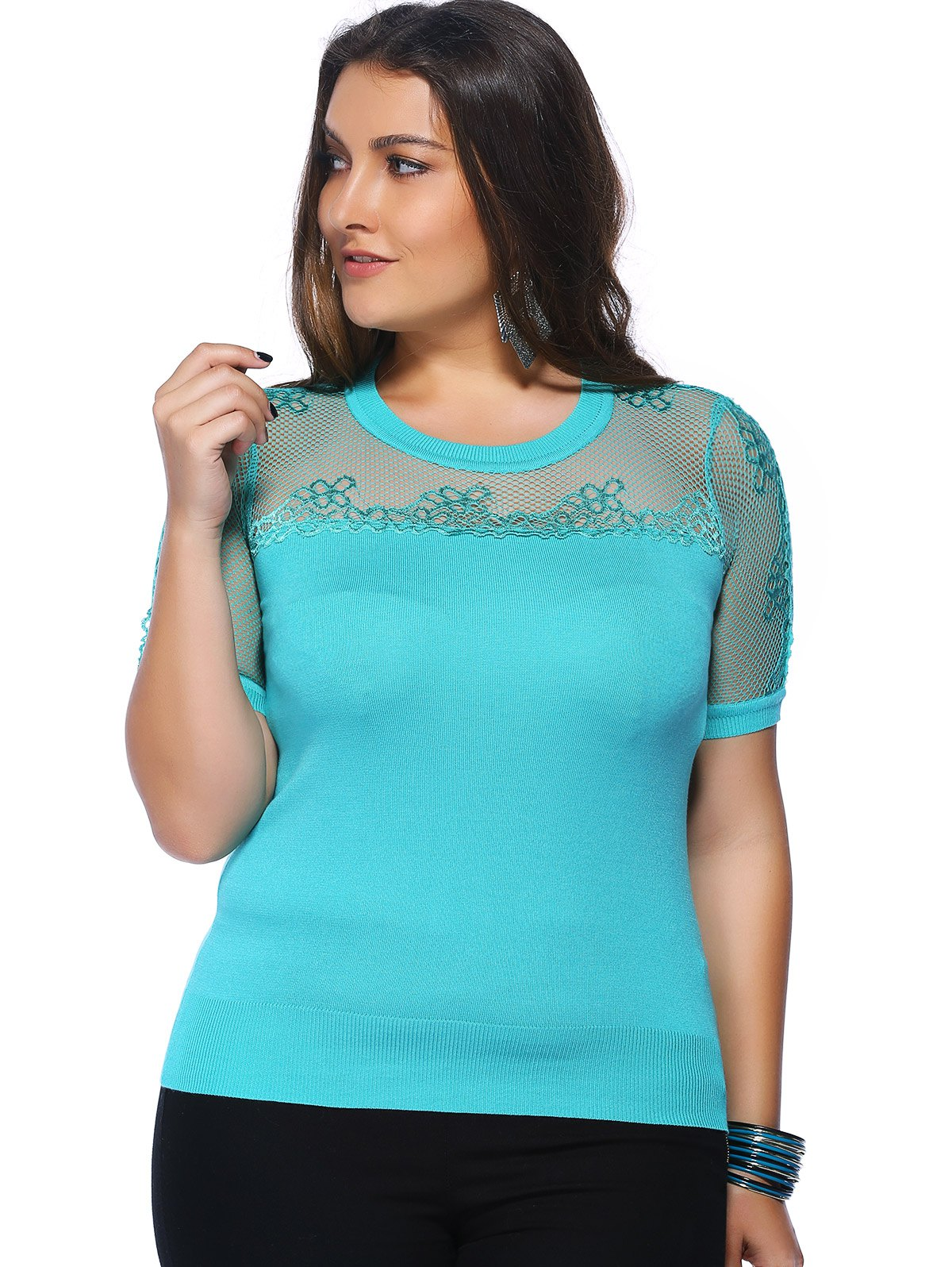 Chic Plus Size Hollow Out Knitted Solid Color Women's Blouse - LAKE BLUE ONE SIZE(FIT SIZE L TO 3XL)