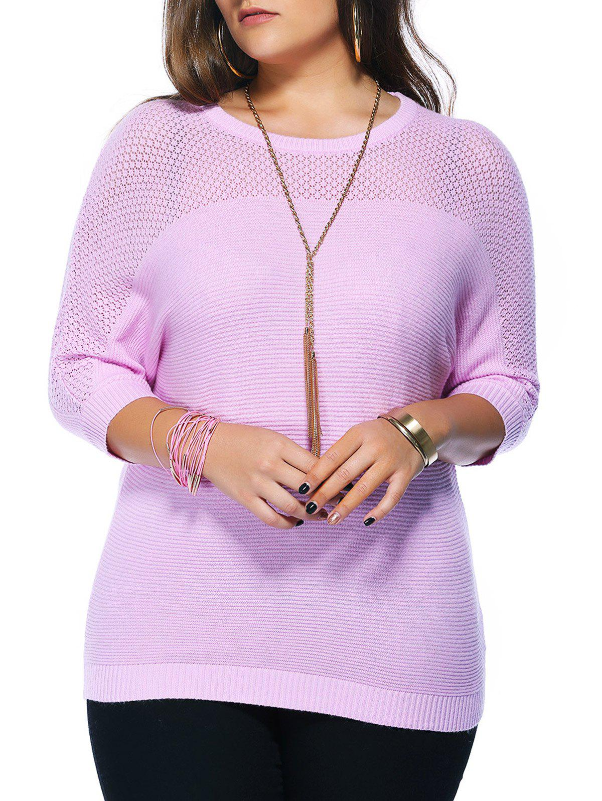 Chic Plus Size Hollow Out Knitted Batwing Sleeve Women's Blouse - PINK ONE SIZE(FIT SIZE L TO 3XL)