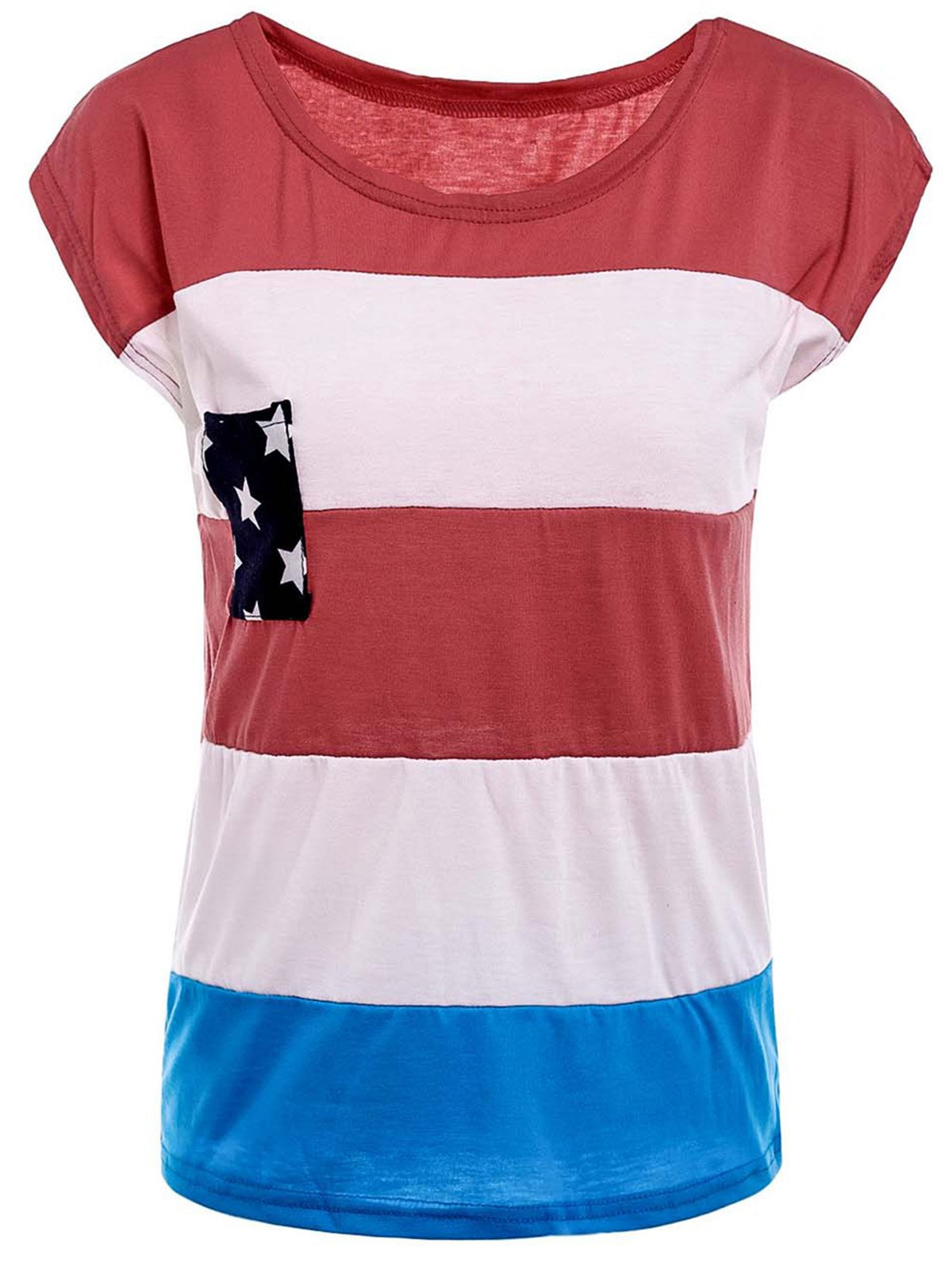 Stylish Round Neck American Flag Print Color Block Women's Short Sleeve T-Shirt - RED L