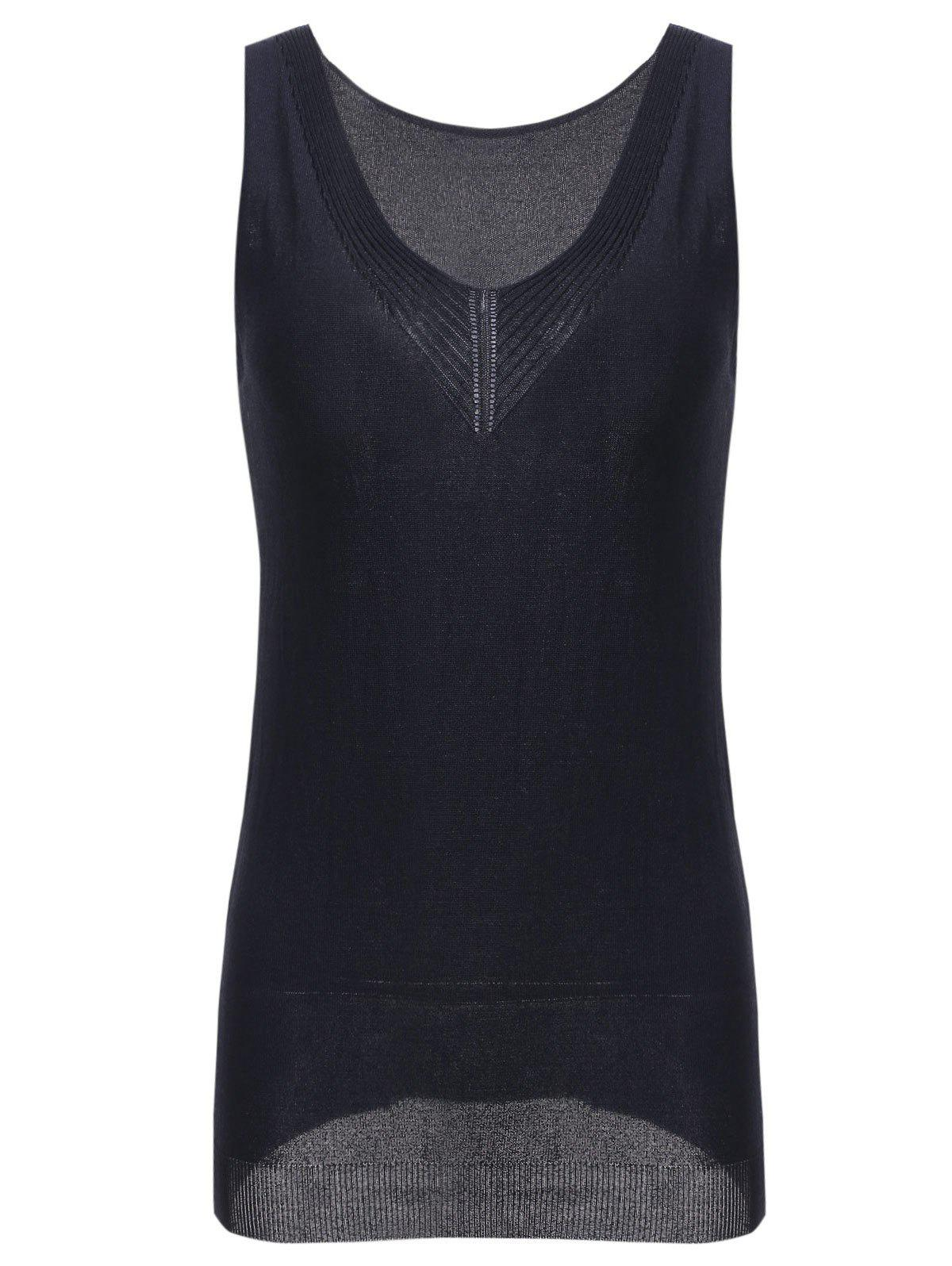 Simple Style Scoop Neck Knitted Women's Tank Top - BLACK ONE SIZE(FIT SIZE XS TO M)