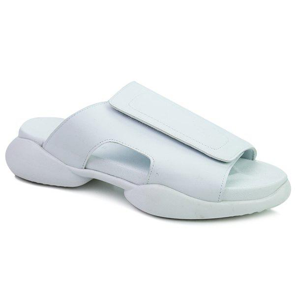 Casual White and  Design Men's Slippers - WHITE 43