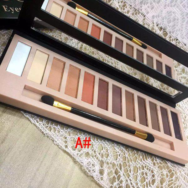 Natural 12 Colours Earth Tone Shimmer Matte Eye Shadow Palette with Mirror and Brush