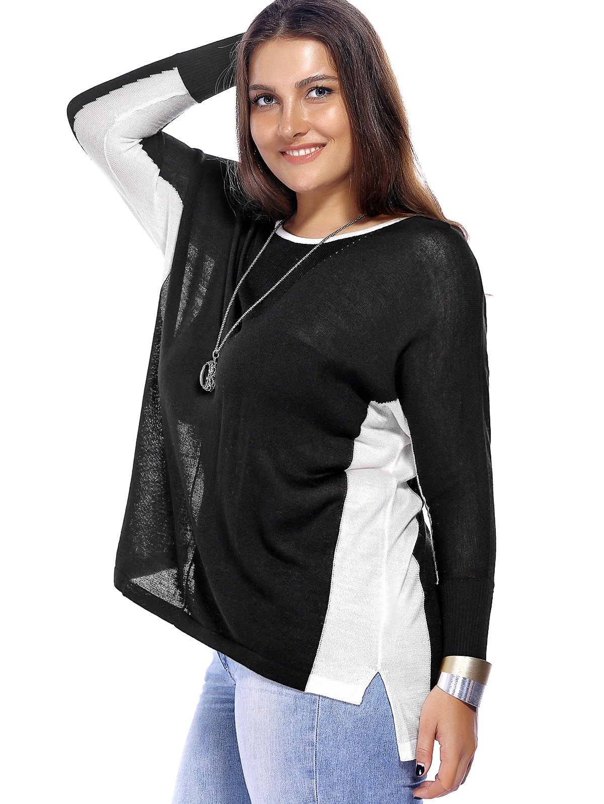 Chic Plus Size High-Low Hem Color Block Knitted Women's Blouse - BLACK ONE SIZE(FIT SIZE L TO 3XL)