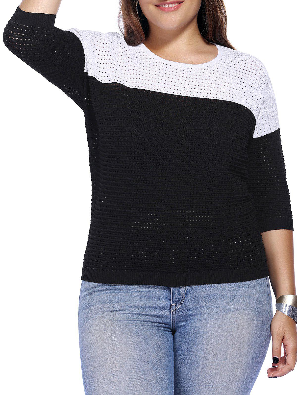 Chic Plus Size Hollow Out Hit Color Women's Knitwear - BLACK ONE SIZE(FIT SIZE L TO 3XL)