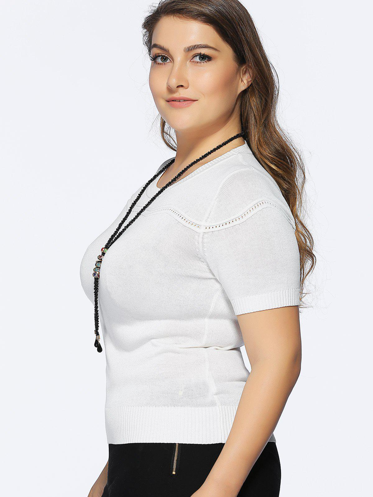 Chic Plus Size Spliced Slimming Solid Color Women's Knitwear - WHITE ONE SIZE(FIT SIZE L TO 3XL)
