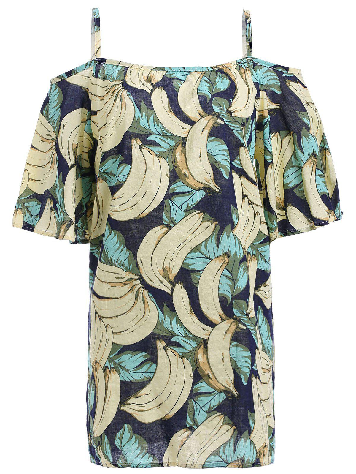 Cold Shoulder Chic Bananas Print Women's Dress