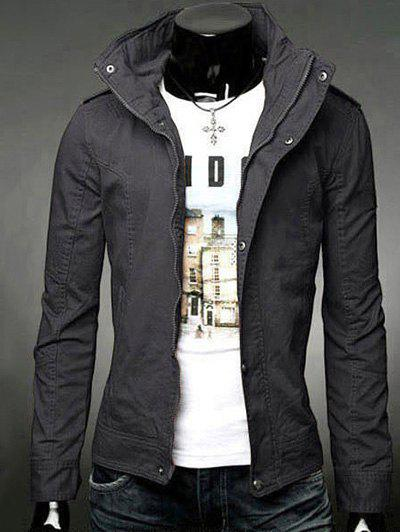 Slimming Solid Color Stand Collar Long Sleeve Men's Jacket - DEEP GRAY L