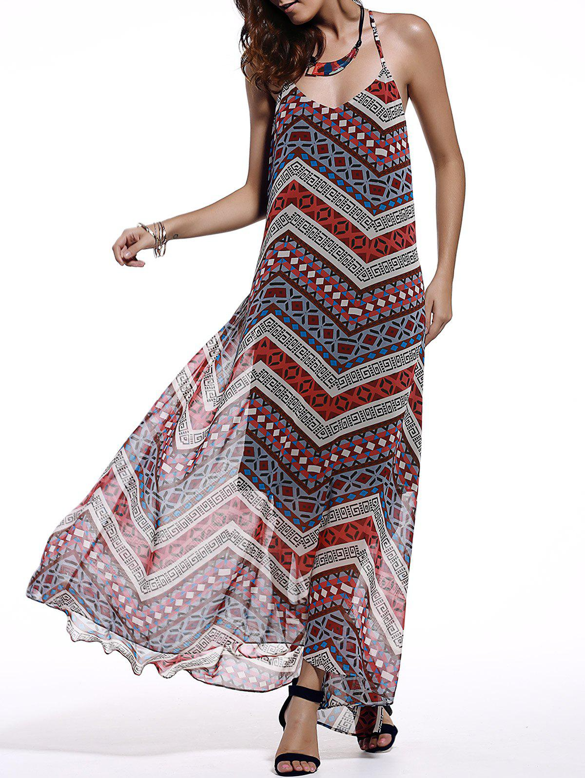 Chic Spaghetti Strap Sleeveless Open Back Printed Dress For Women - COLORMIX L