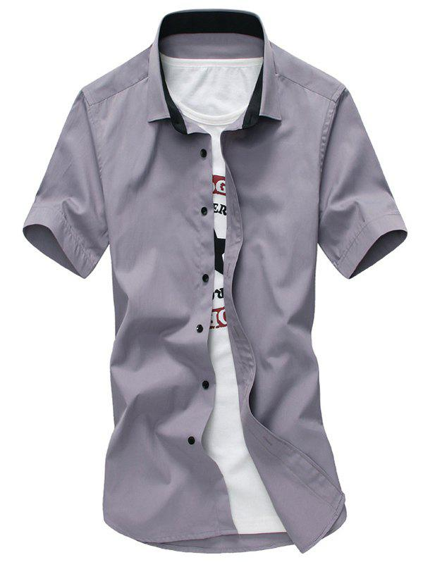 Men's Casual Turn Down Collar Solid Color Shirts - 2XL GRAY