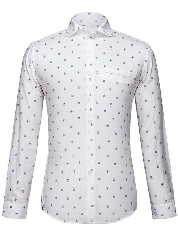 Men's Turn-Down Collar Long Sleeve Printed Shirt - WHITE L