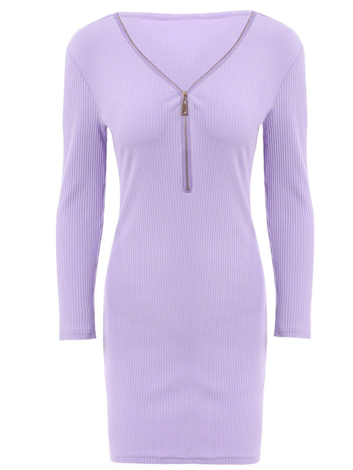 Alluring Women's V-Neck Candy Color Long Sleeve Dress - PURPLE S