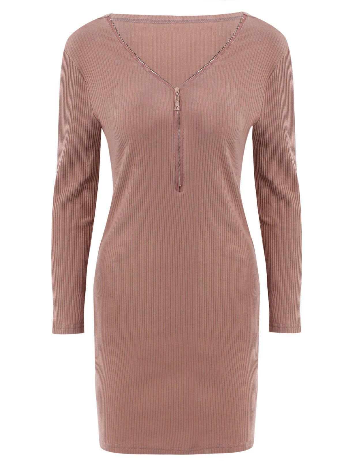 Alluring Women's V-Neck Candy Color Long Sleeve Dress - BROWN M