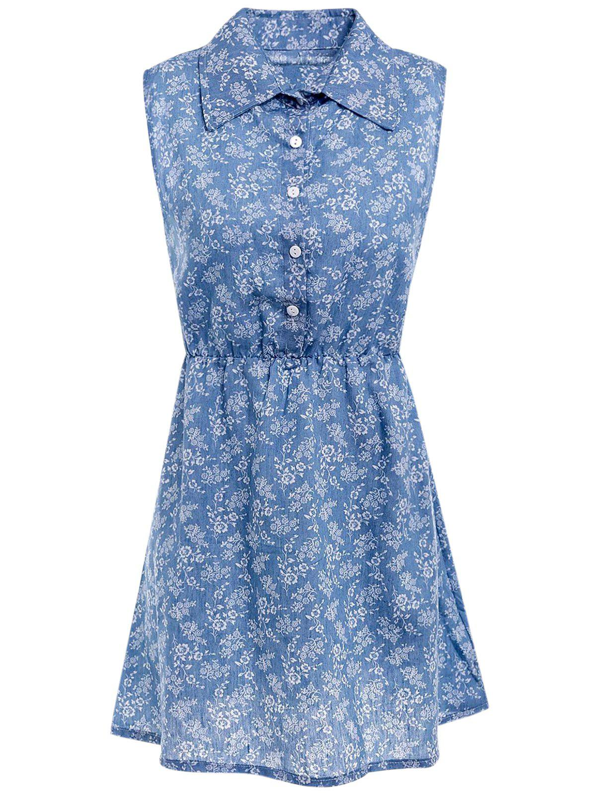 Stylish Women's Shirt Collar Sleeveless Printed Denim Shirt Dress - BLUE M