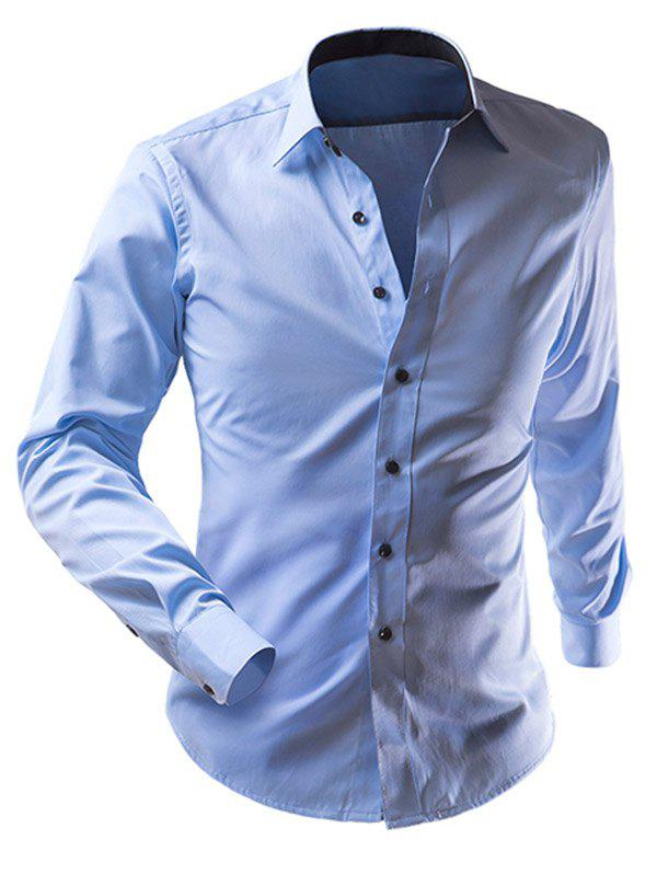 Turn-Down Collar Long Sleeve Slimming Solid Color Men's Shirt