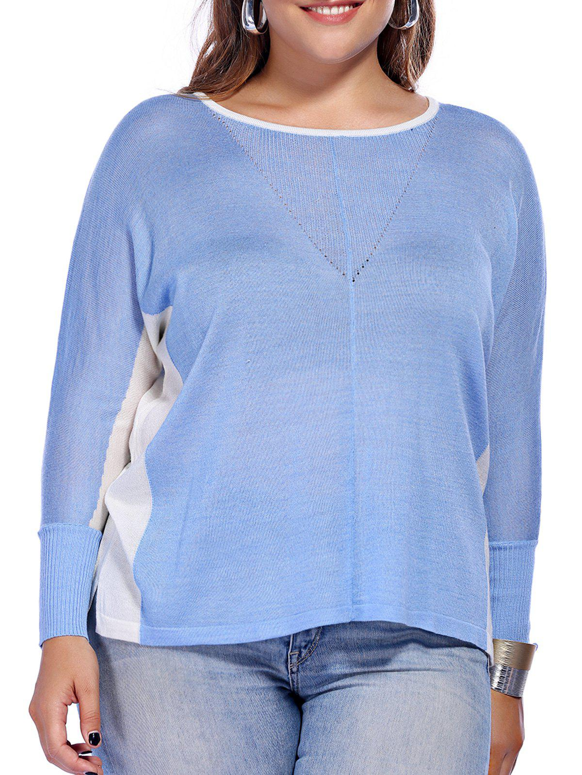 Chic Plus Size High-Low Hem Color Block Knitted Women's Blouse - BLUE ONE SIZE(FIT SIZE L TO 3XL)