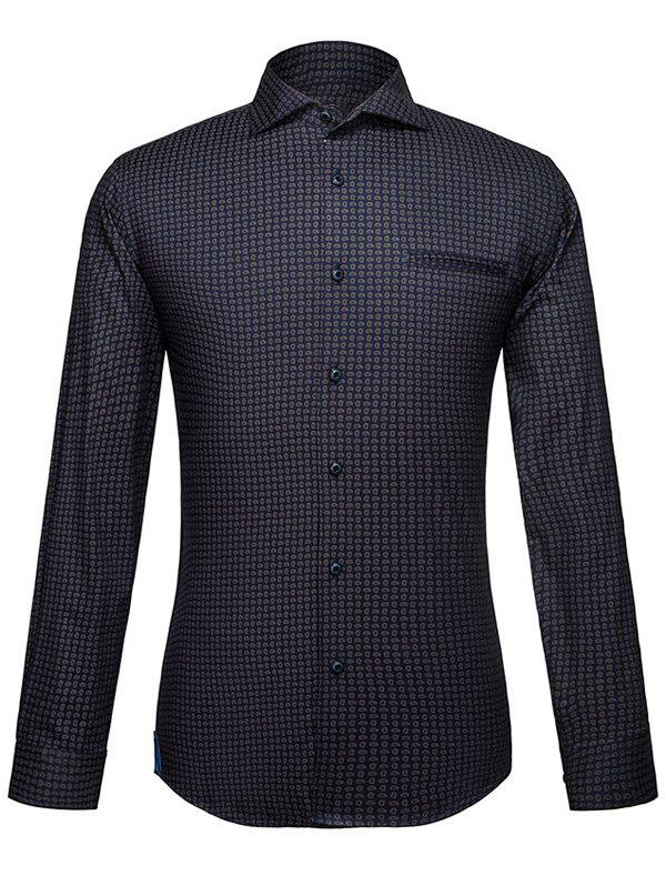 Men's Turn-Down Collar Abstract Printed Long Sleeve Shirt - COLORMIX L
