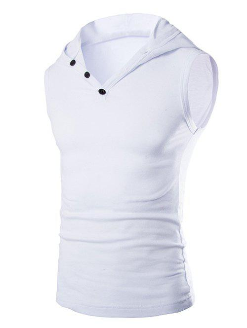 Men's Casual Hooded Solid Color Tank Top - WHITE L