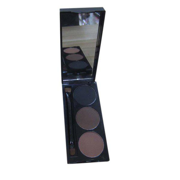 Natural 3 Colours Smudge-Proof Water-Soluble Eyeliner Powder Palette with Mirror and Brush - COLORMIX