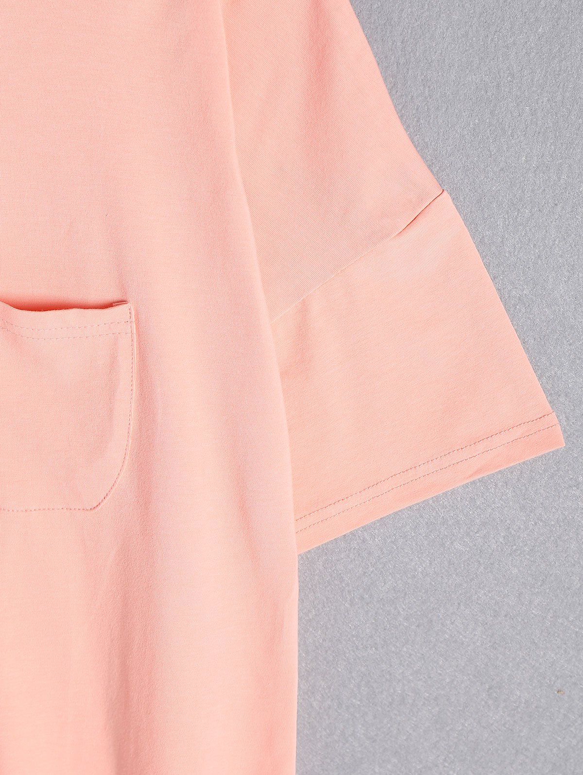 Casual Pure Color Plus Size Short Sleeve T-Shirt For Women - PINK 5XL
