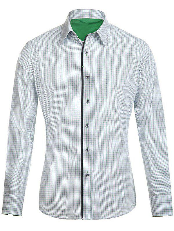 Men's Turn-Down Collar Gingham Long Sleeve Shirt