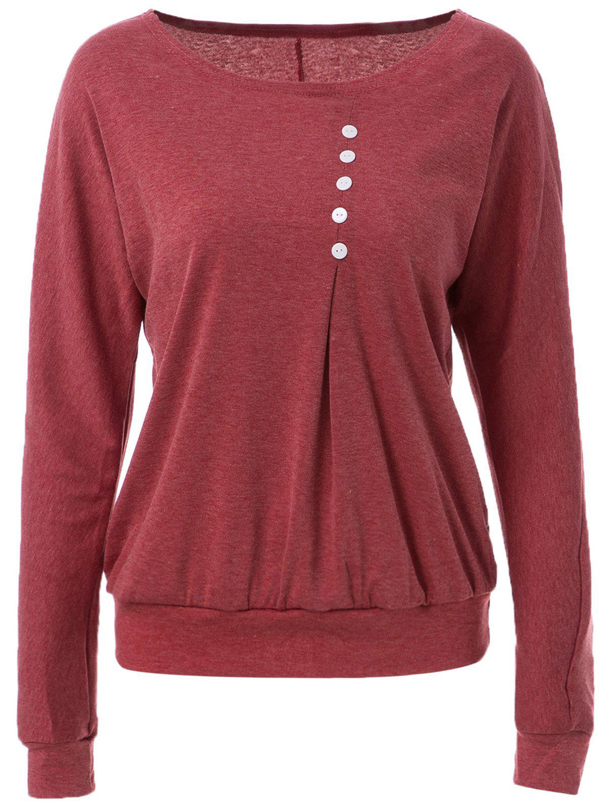 Casual Style Scoop Neck Long Batwing Sleeve Loose-Fitting Solid Color Women's T-Shirt - RED S