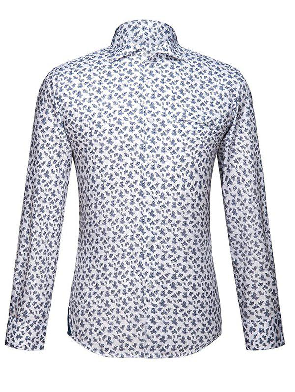 Paisley Print Embroidered Turn-Down Collar Long Sleeve Cotton Blends Men's Shirt - WHITE S
