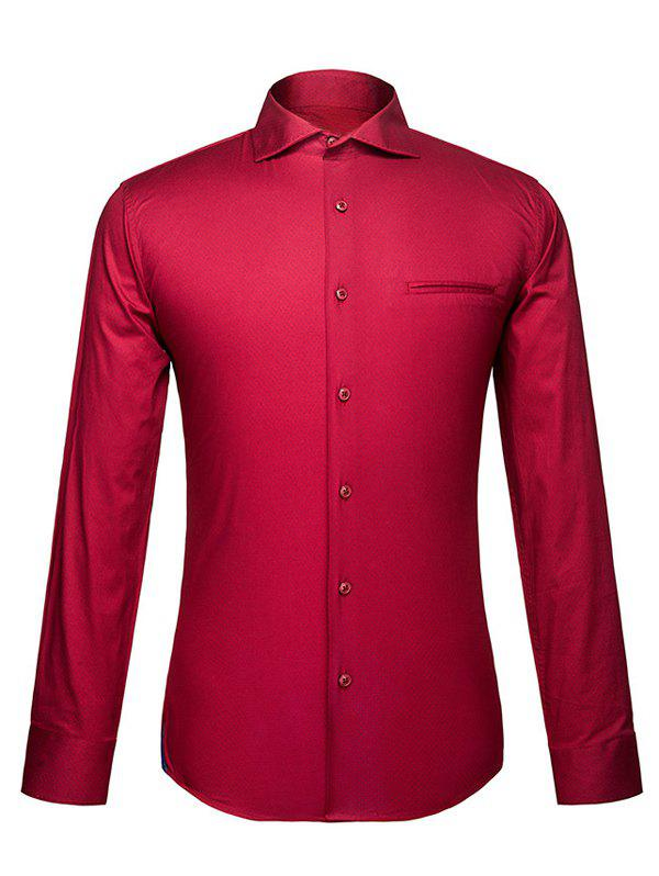 Men's Turn-Down Collar Red Color Long Sleeve Shirt - COLORMIX L