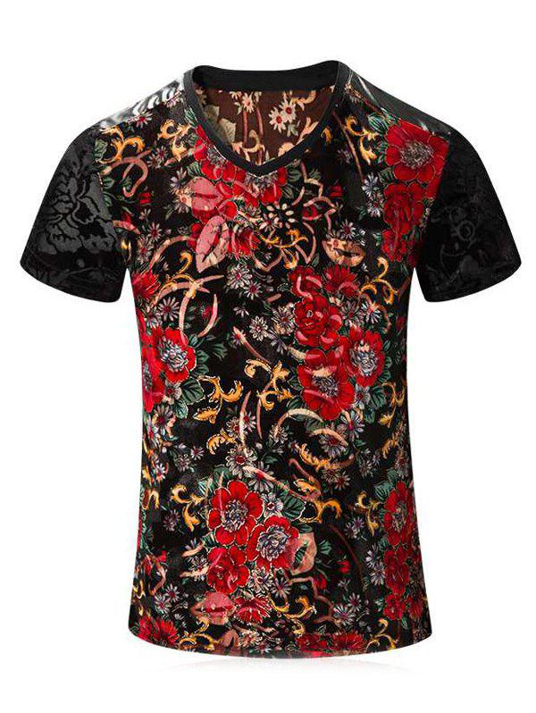 PU Leather Spliced Floral Print Short Sleeves V-Neck Men's T-Shirt