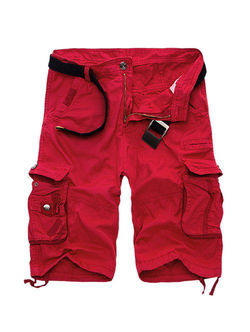 Cotton Blends Multi-Pockets Zipper Fly Straight Leg Men's Cargo Shorts - RED 31