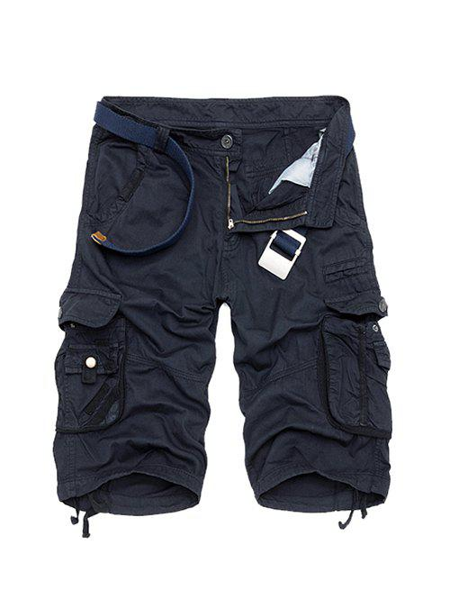 Cotton Blends Multi-Pockets Zipper Fly Straight Leg Mens Cargo ShortsMen<br><br><br>Size: 40<br>Color: DEEP BLUE