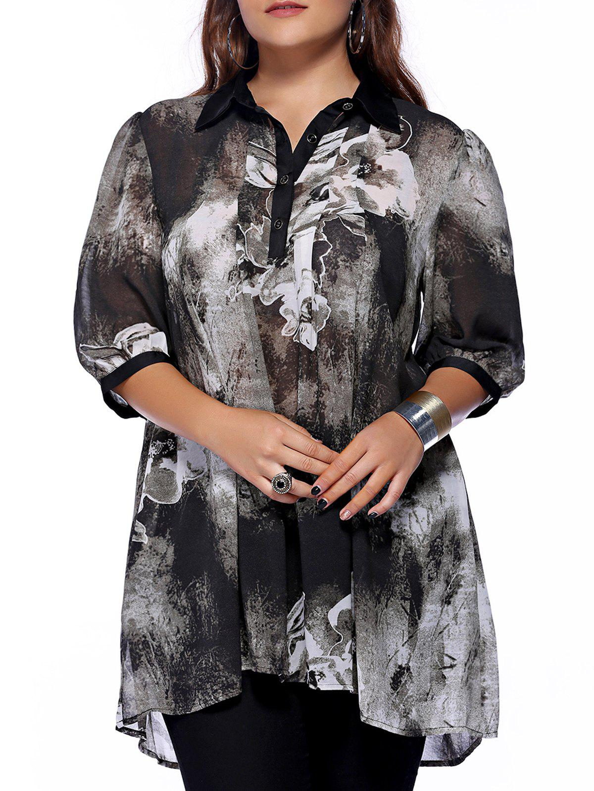 Plus Size Brief Ink Painting Buttoned Blouse - BLACK 4XL