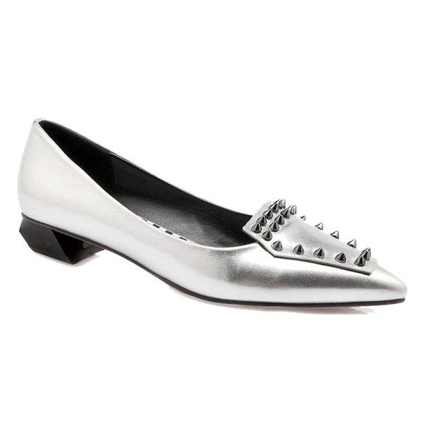 Trendy Rivets and Pointed Toe Design Women's Flat Shoes - SILVER 39