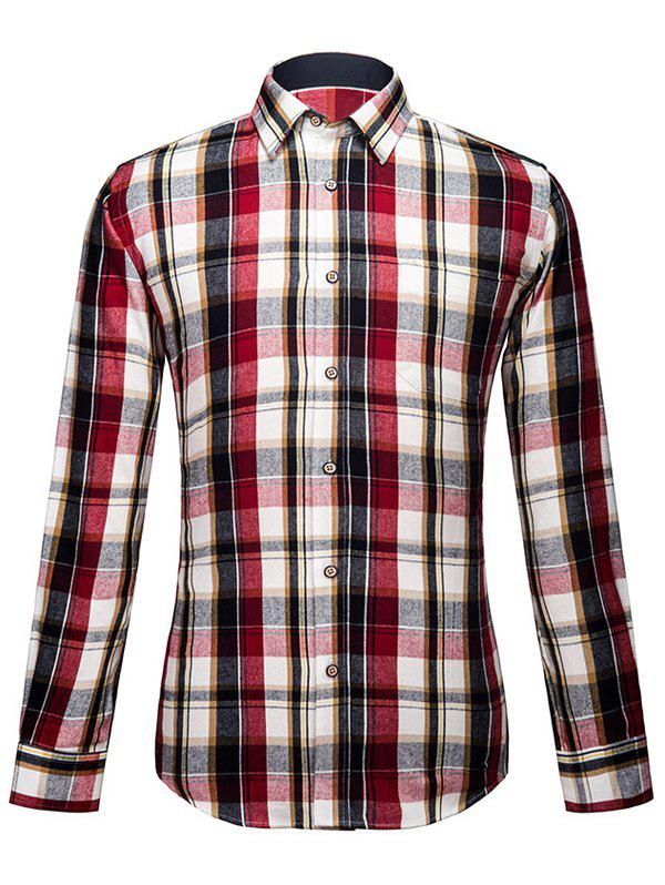 Men's Turn-Down Collar Plaid Long Sleeve Shirt - CHECKED S