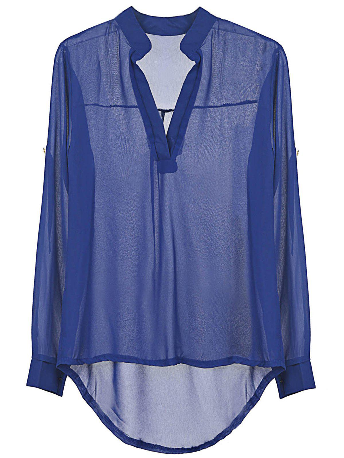 Women's Spring Summer Long Sleeve Chiffon V-Neck Blouse - BLUE L