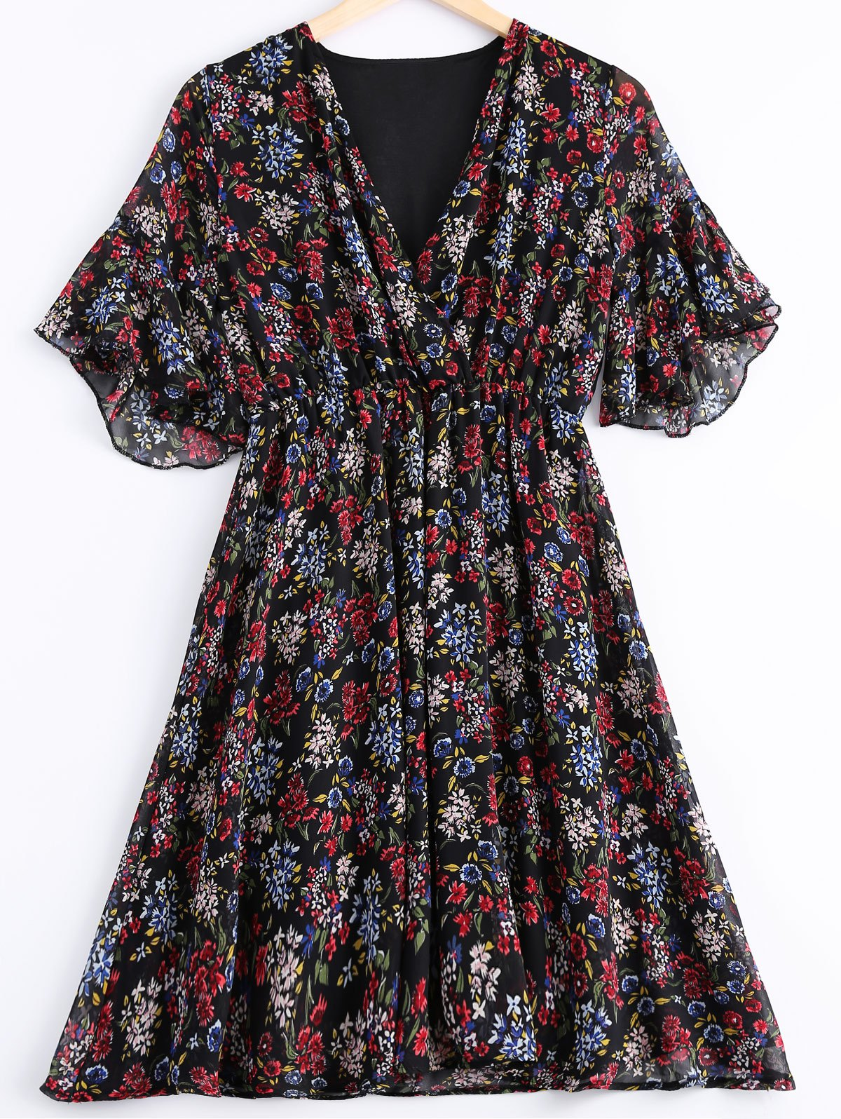 Fashionable Floral Prints V-Neck Flounce Short Sleeves Dress For Women - BLACK ONE SIZE(FIT SIZE XS TO M)