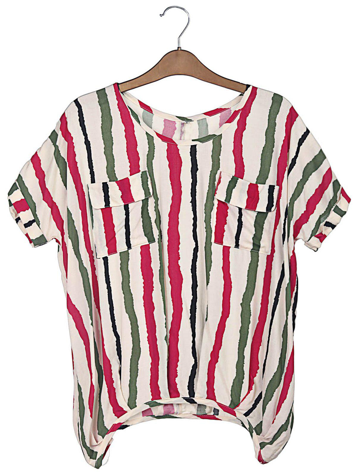 Colorful Vertical Stripe Sweet Scoop Neck Batwing Sleeve Women's T-Shirt - PLUM XL