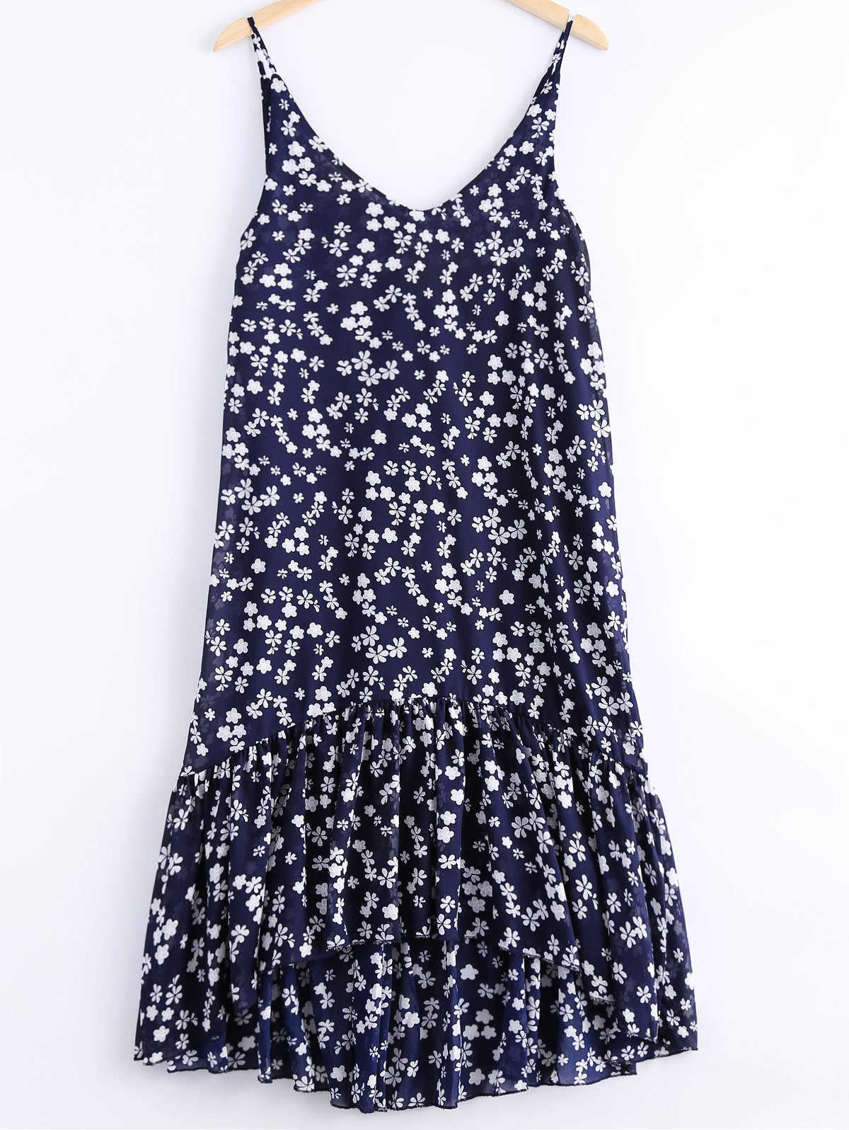 Fashionable Printing V-Neck Spaghetti Strap Flounce Dress For Women - DEEP BLUE ONE SIZE(FIT SIZE XS TO M)