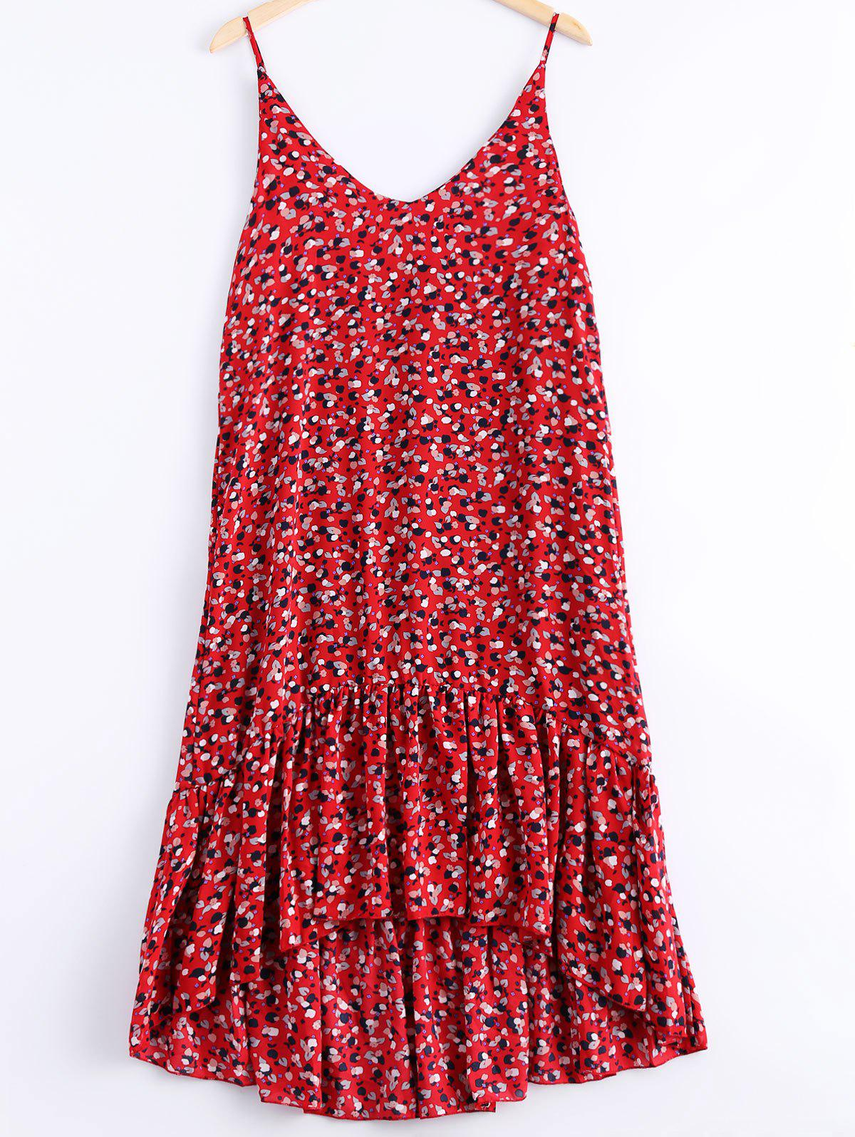 Elegant Women's V-Neck Flounce Printing Spaghetti Strap Dress - RED ONE SIZE(FIT SIZE XS TO M)