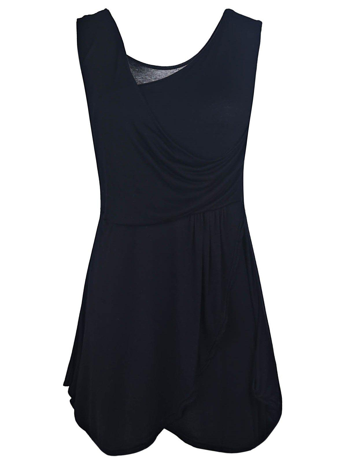 Trendy Solid Color Ruched Bud Hem Backless Sleeveless V-Neck Dress - BLACK S