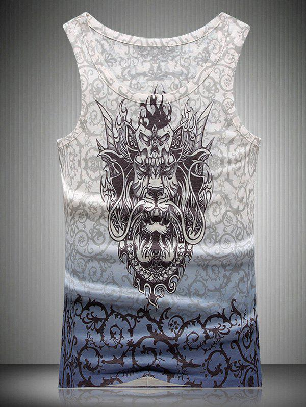 Thorns and Dragon 3D Print Round Neck Ombre Men's Tank Top - COLORMIX 2XL