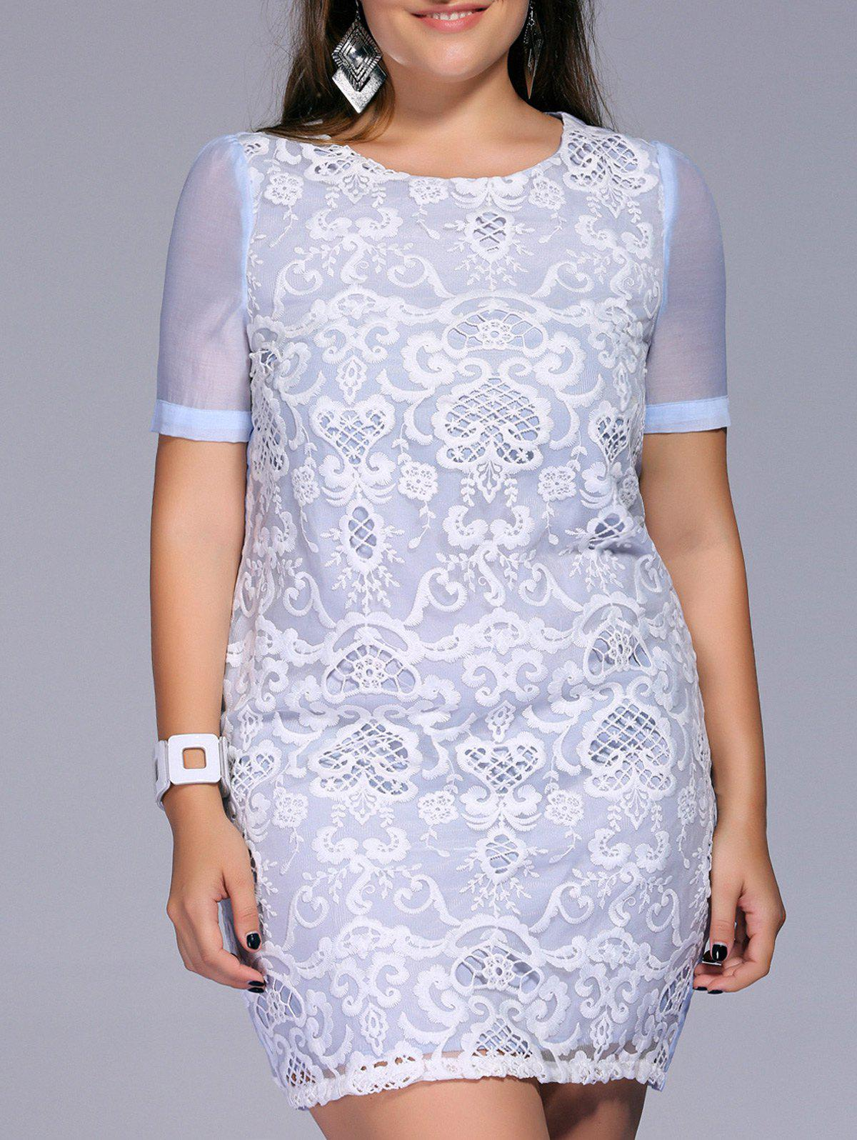 Sweet Plus Size Lace Patchwork Embroidered Women's Dress - LIGHT BLUE XL